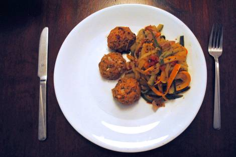 Zucchini and Summer Squash Spaghetti with Tuna Meatballs